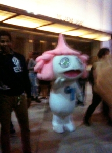 "Kagure-bo works the crowd at the world premiere of Takashi Murakami's ""Jellyfish Eyes"" at LACMA April 9, 2013."