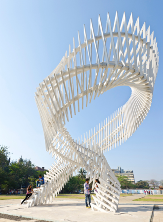 Charkha Monument, Mumbai, India, a beautiful parametric sculpture
